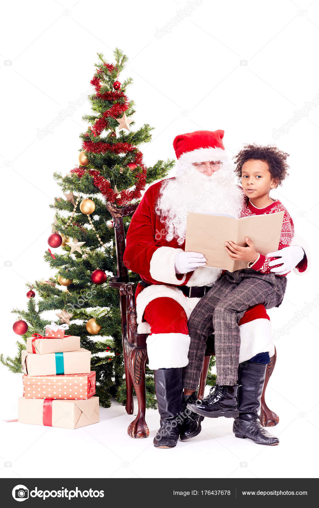 Santa reading Christmas story for kid — Stock Photo © QuicklyFy ...