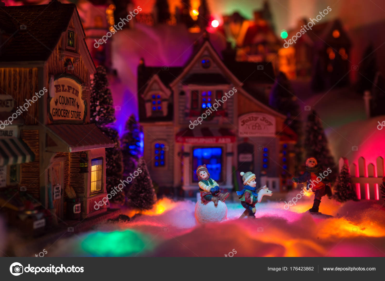 Christmas Scenery Concept With Kids Happy Playing In Snow In The Stock Photo C Joecce 176423862