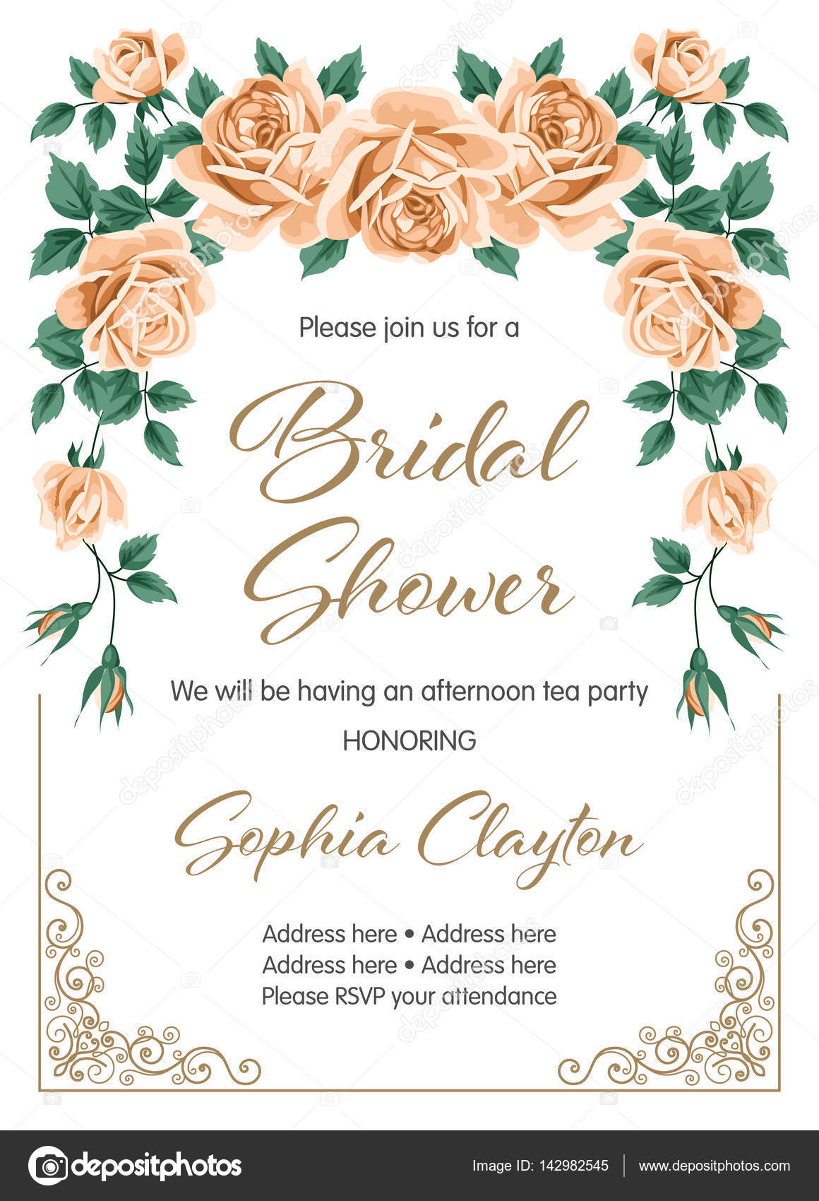 bridal shower invitation template stock vector