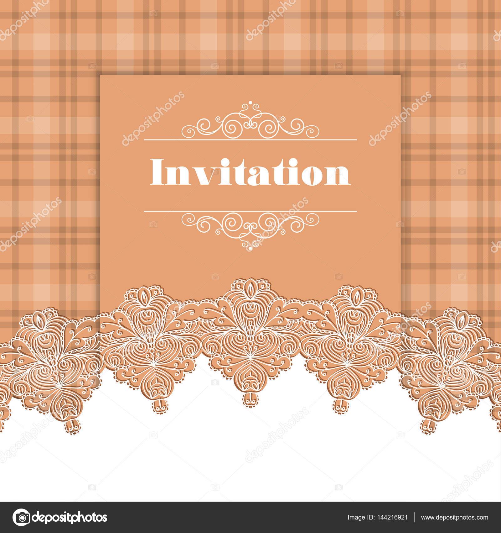 invitation template with lace border stock vector nonikastar