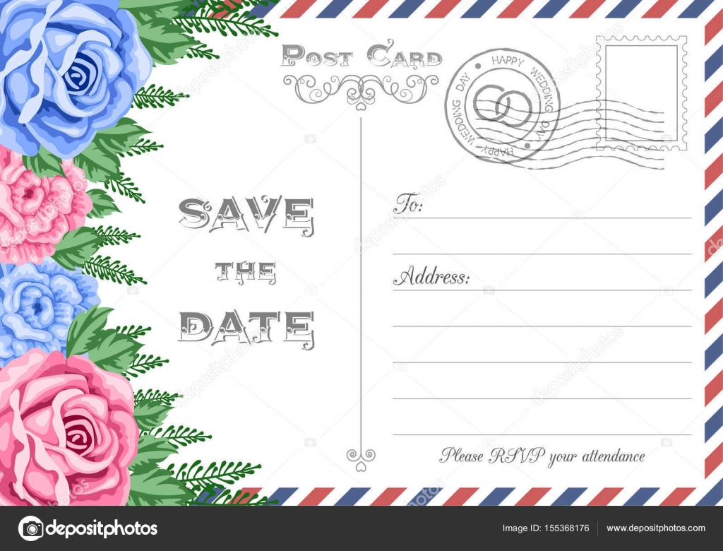 Postcard Save the Date — Stock Vector © NonikaStar #155368176