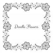 Doodle květinový rámeček