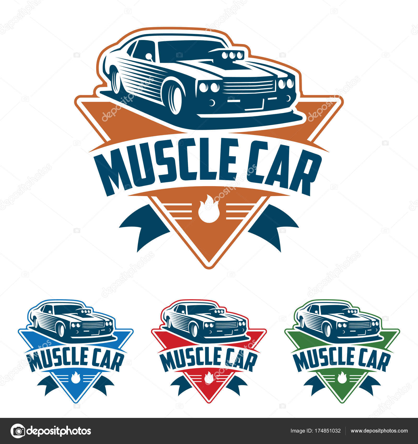 Muscle Car Logo Retro Logo Style Vintage Logo Stock Vector