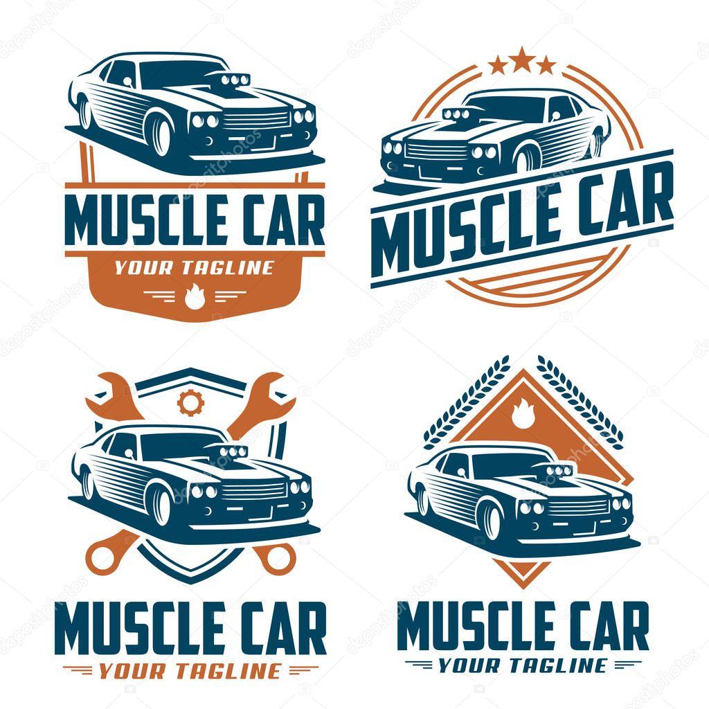 Logotipo Do Carro Do Músculo, Estilo Retrô Logotipo