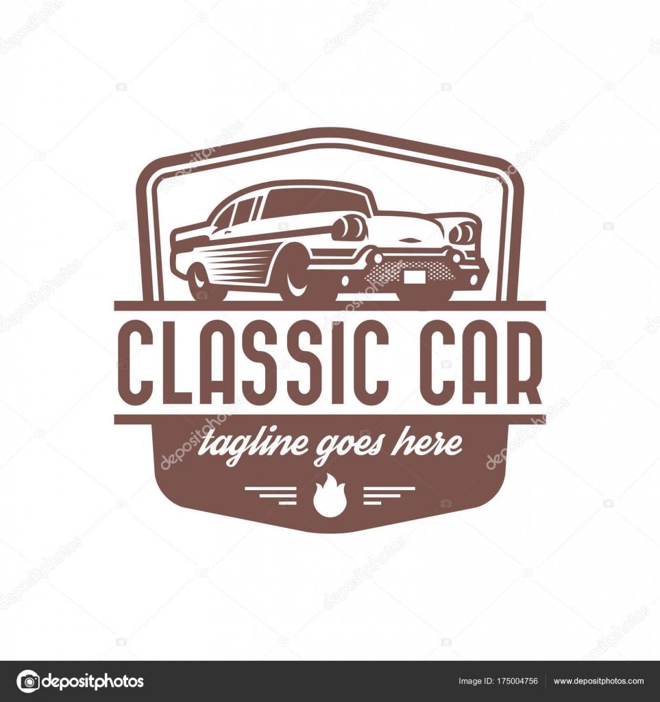 Plantilla de logotipo de coche clásico, coche de época insignia ...