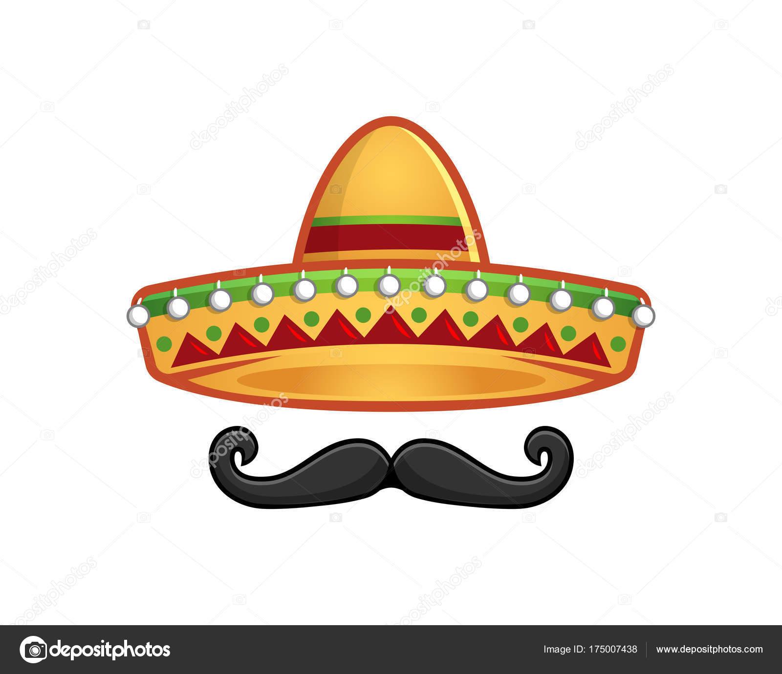 Sombrero und Schnurrbart-Symbol-Vorlage — Stockvektor © ednalstudio ...