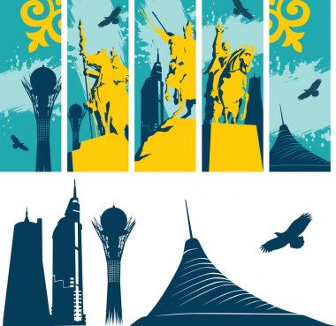 Set of isolated Astana buildings and kazakh statues banners. Vector illustration.