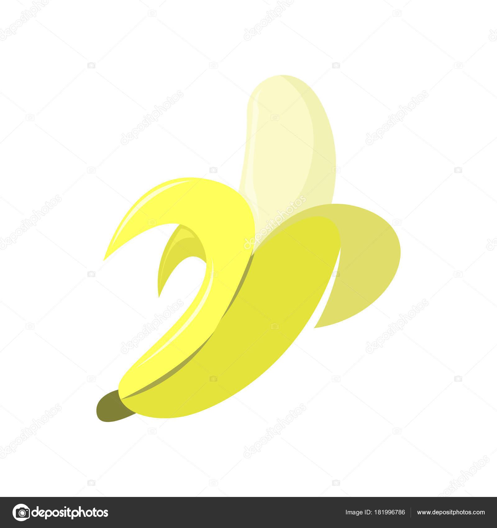 Fresh Banana Peeled Vector Illustration Graphic Design Stock