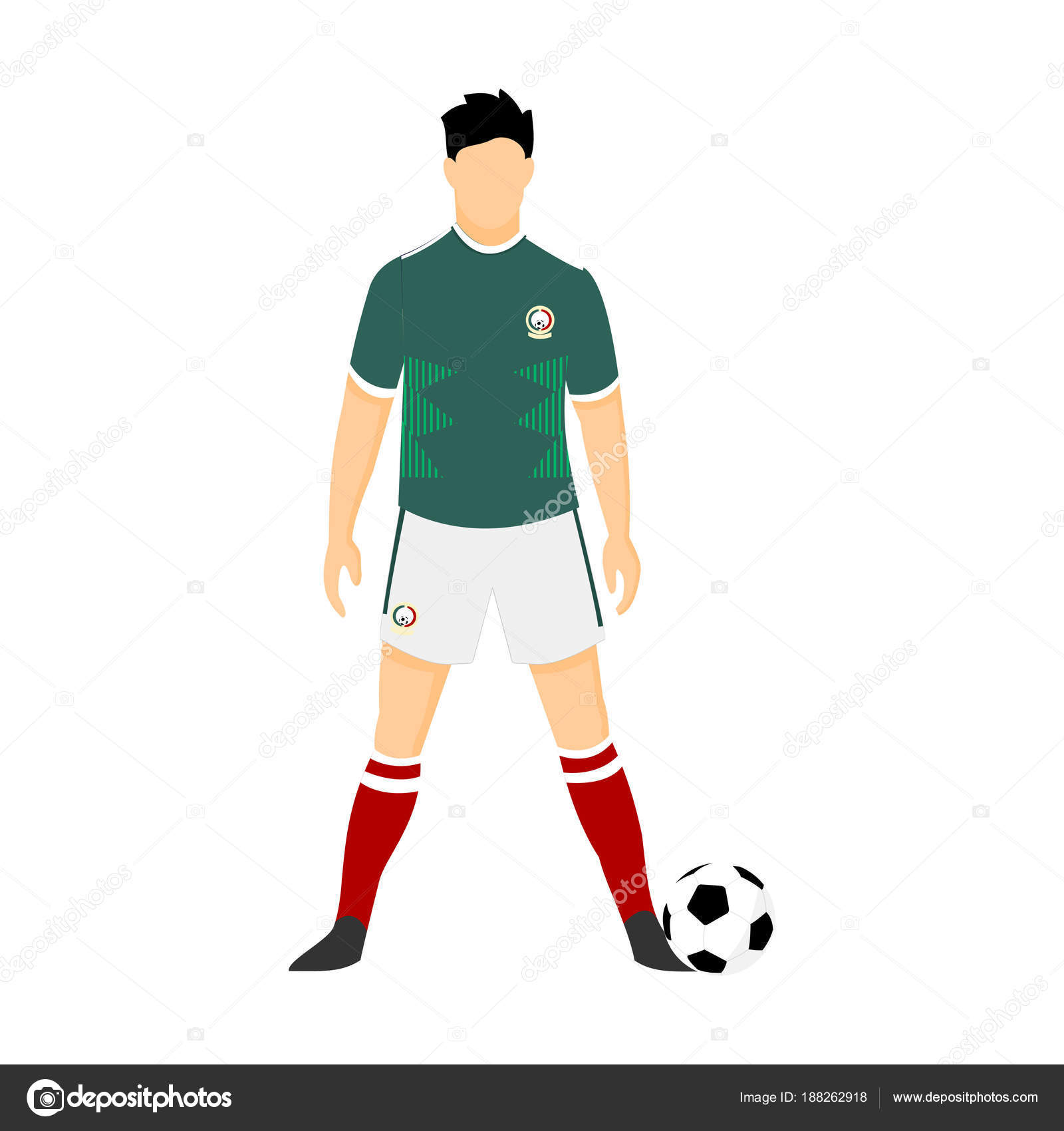 993bb87c7e1 Mexico Football Jersey National Team World Cup Illustration — Stock Vector