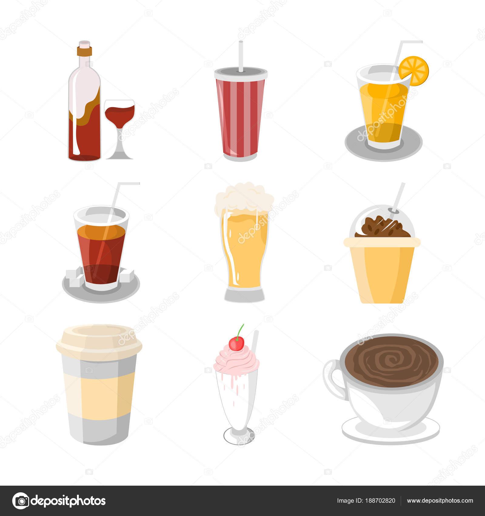 様々 な飲料カフェ イラスト セット — ストックベクター © svvell #188702820