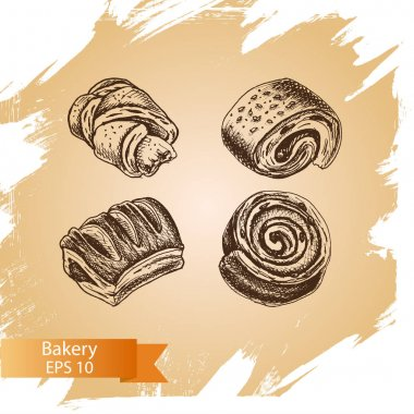 illustration sketch - bakery. buns, puffs