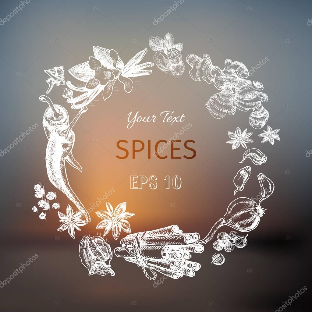 Vector background - spices, herbs, vegetables.