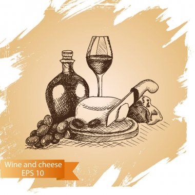 sketch cheese and wine food card