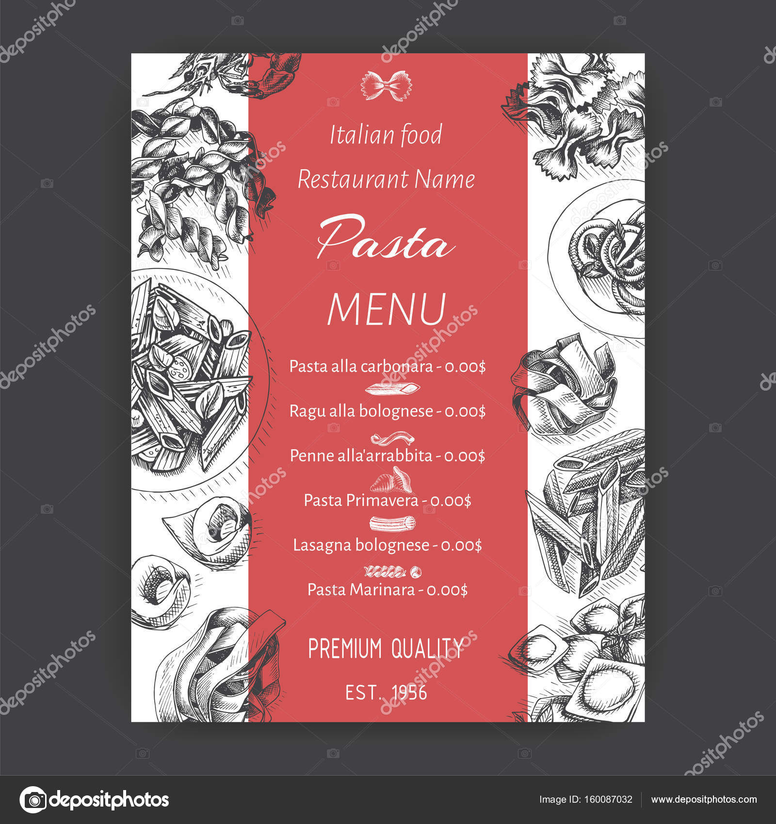 Card menu italian restaurant — Stock Vector © art-romashka #160087032