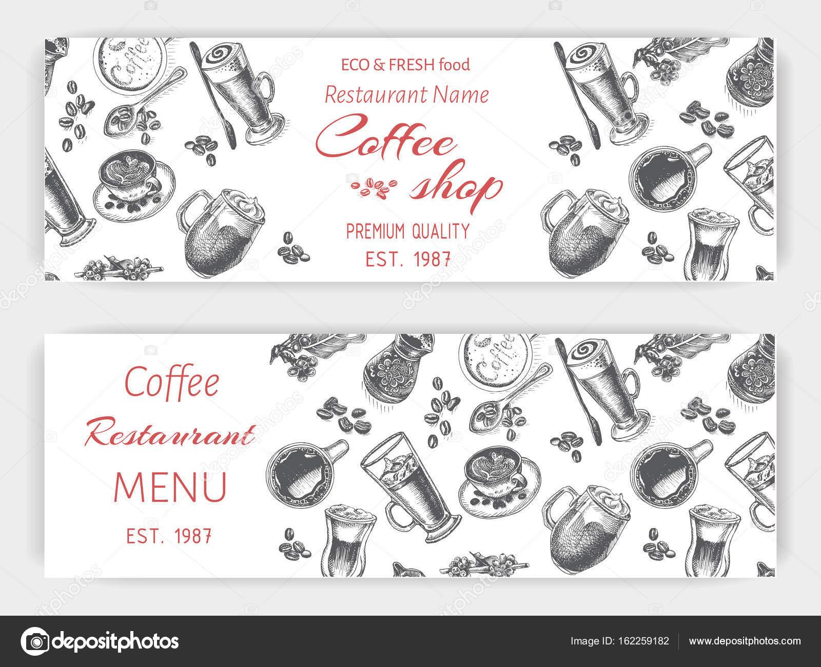Coffee-Shop-Skizze-Vorlage — Stockvektor © art-romashka #162259182