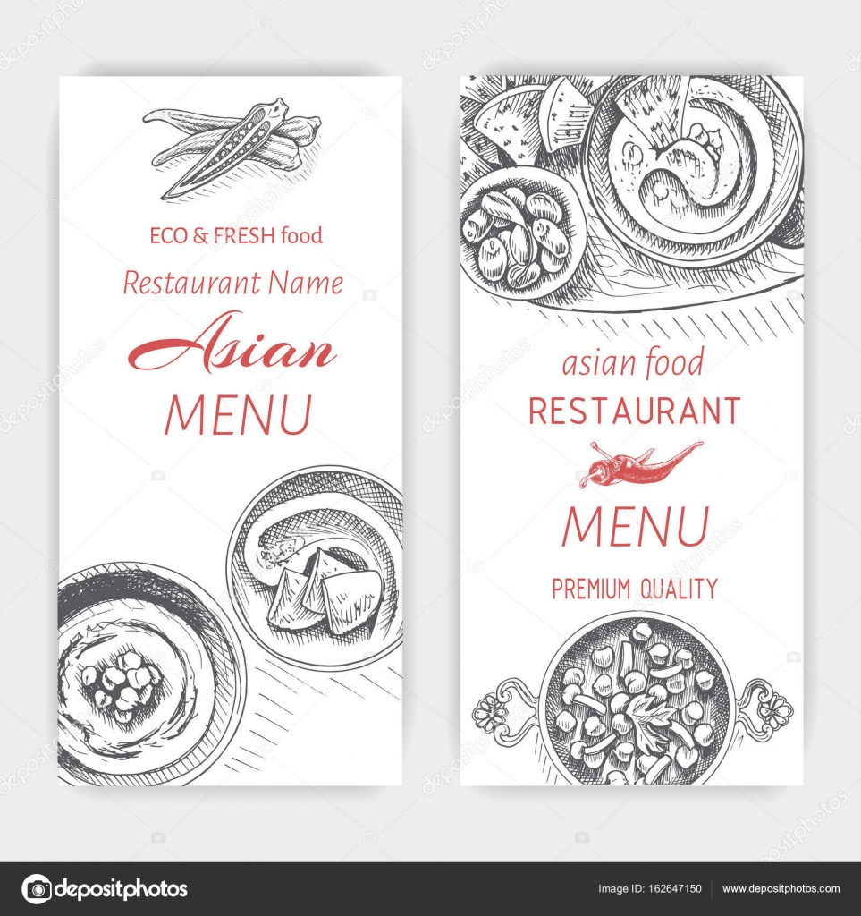 Asian Food Menu Design Template Stock Vector Art Romashka 162647150