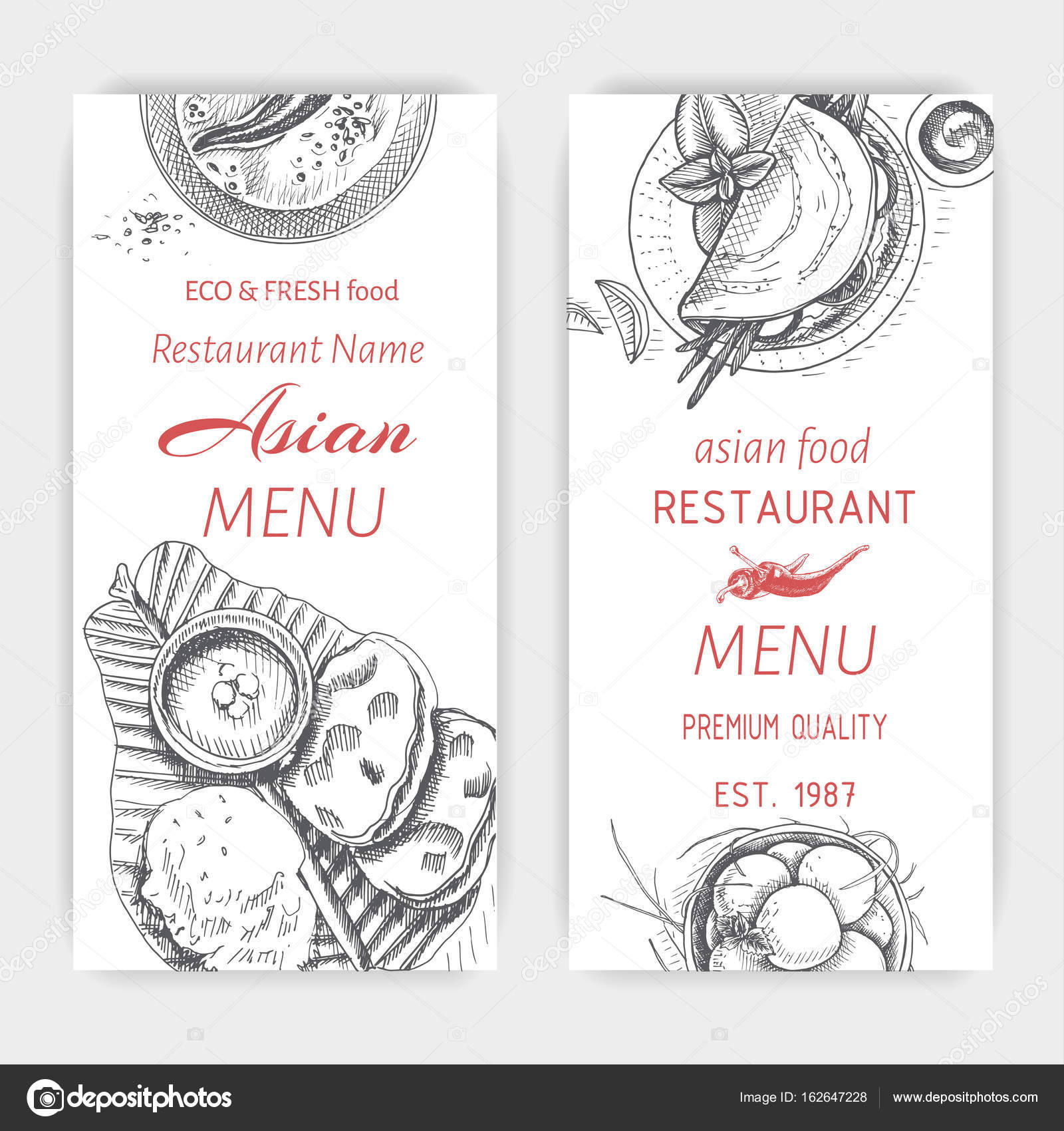Asian Food Menu Design Template Stock Vector Art Romashka 162647228