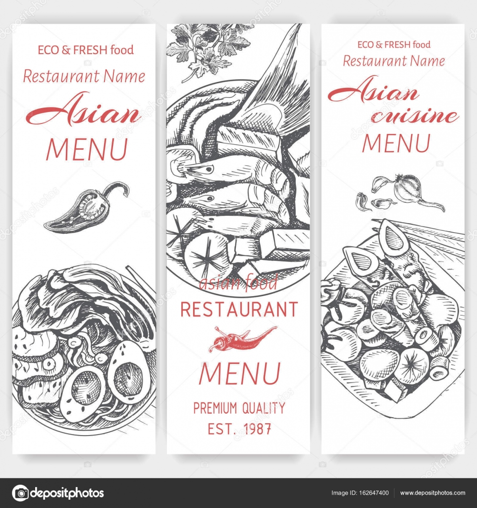 Asian Food Menu Design Template Stock Vector Art Romashka 162647400