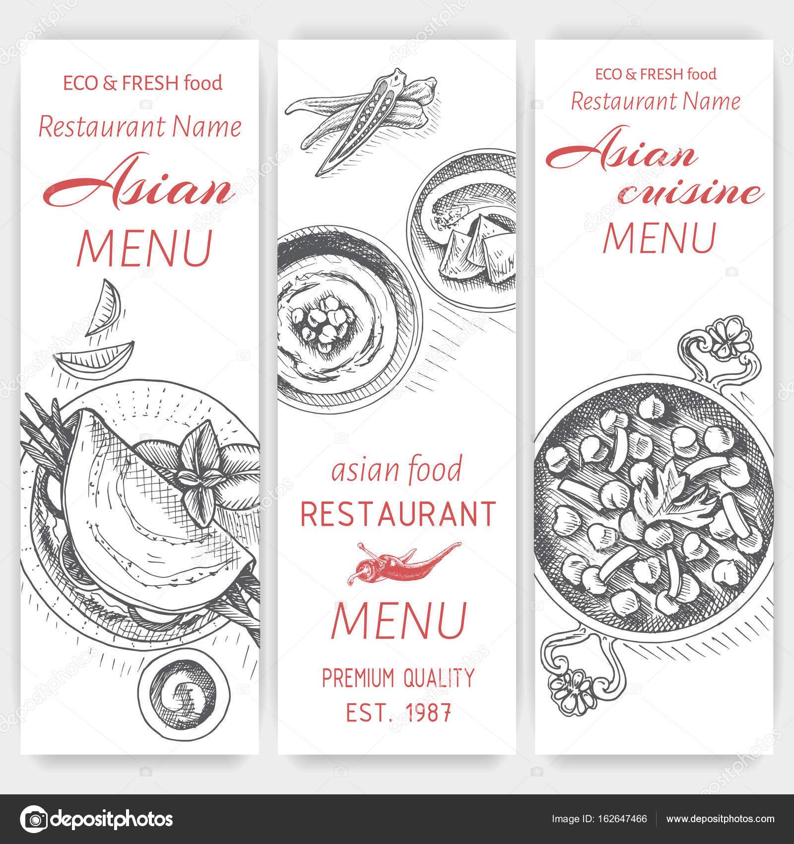 plantilla de diseño de menú de comida asiática — Vector de stock ...