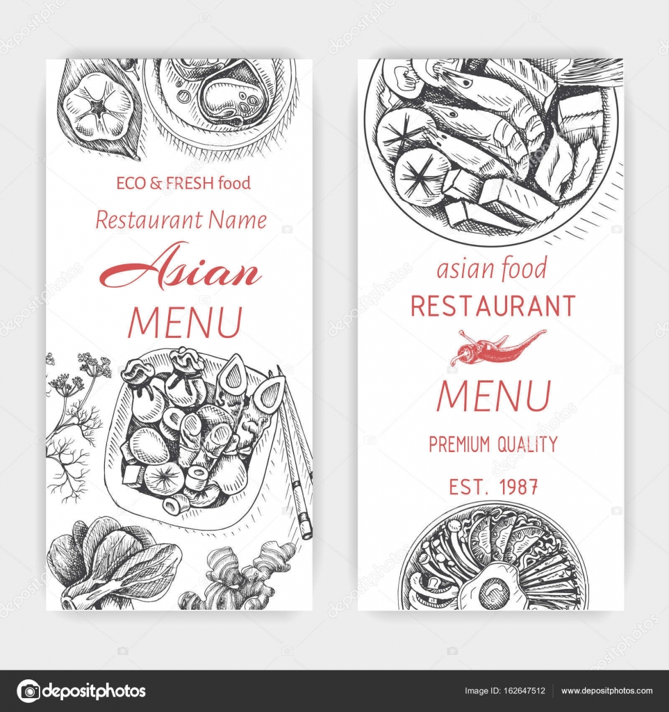 Asian Food Menu Design Template Stock Vector Art Romashka 162647512