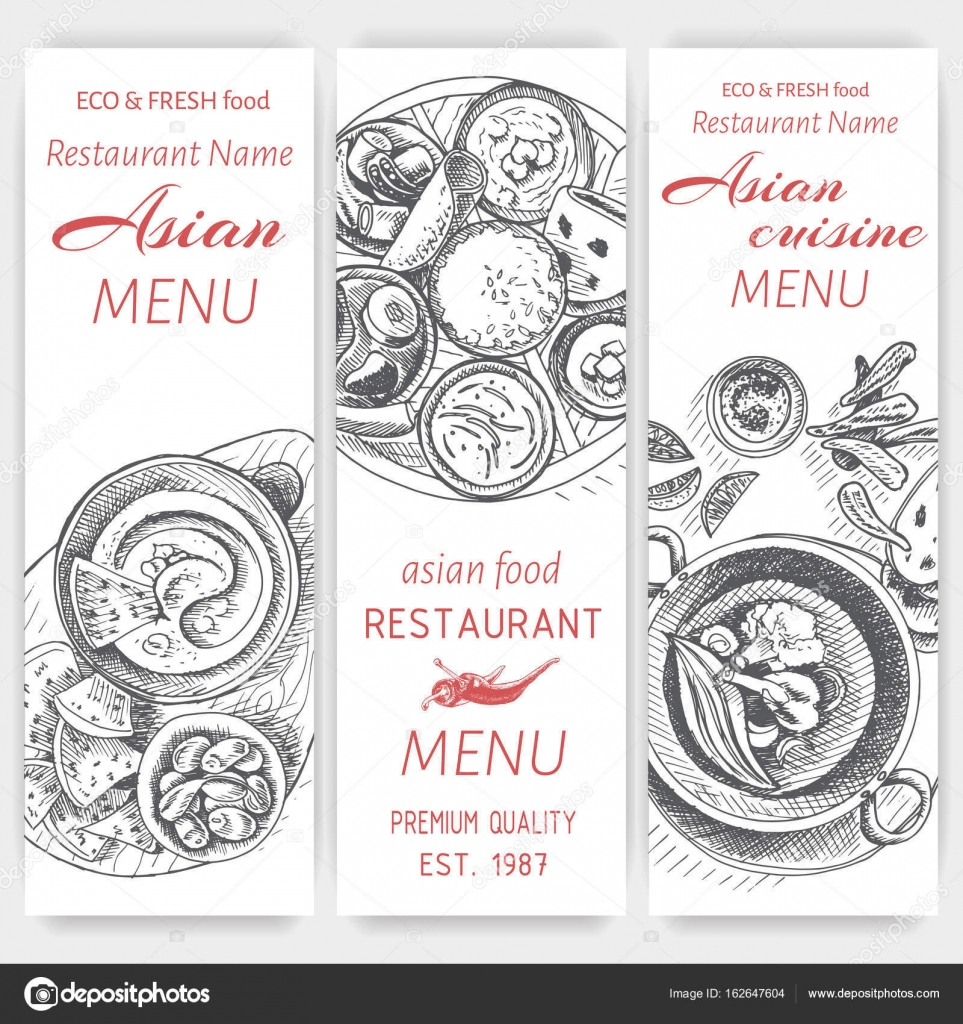 Asian Food Menu Design Template Stock Vector Art Romashka 162647604