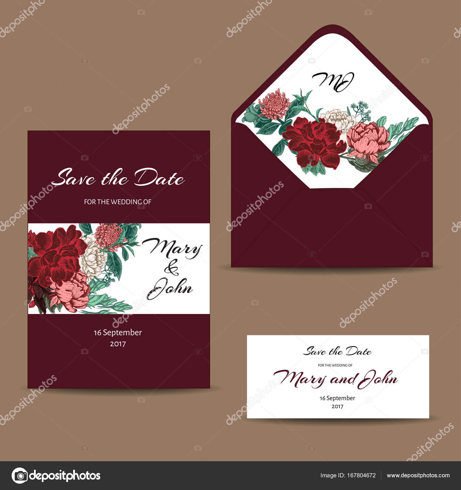 A Set Of Invitation Cards For The Wedding Postcards With Floral