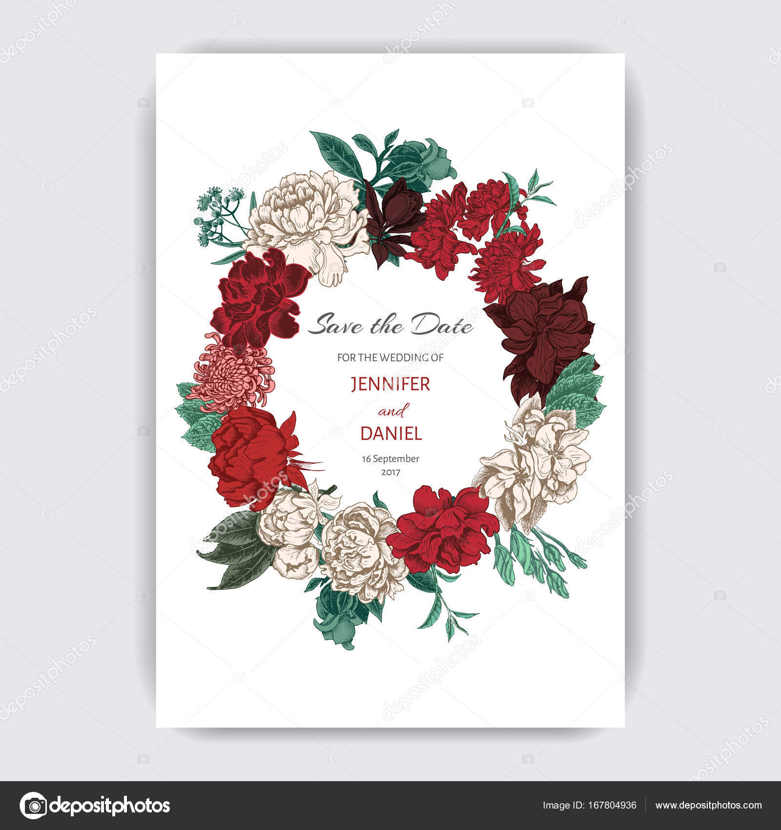 Vector illustration sketch - card with flowers chrysanthemum, peony ...