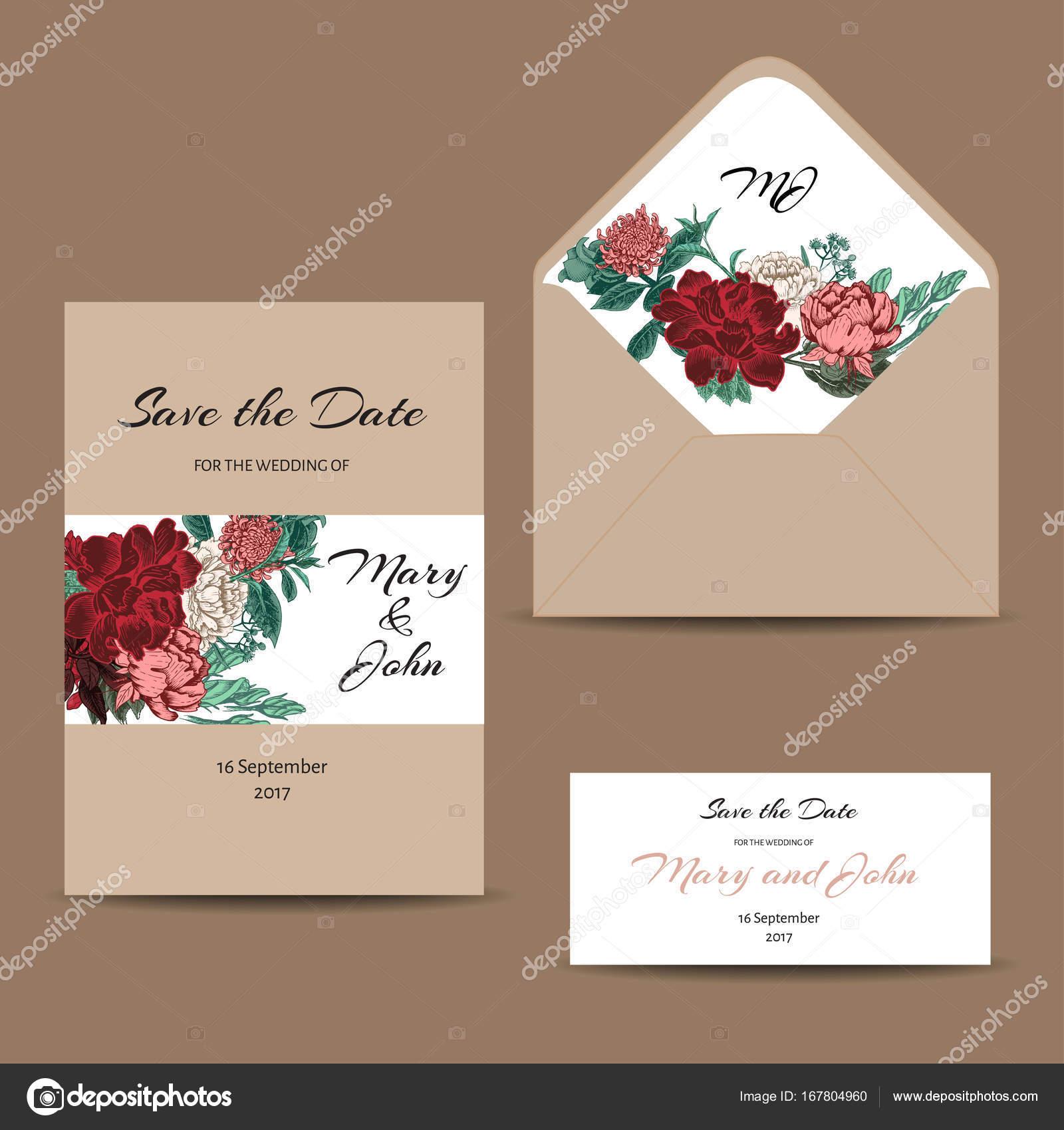 Eine Reihe Von Einladungskarten Für Die Hochzeit. Postkarten Mit Floralen  Ornamenten. Umschlag, Grußkarte