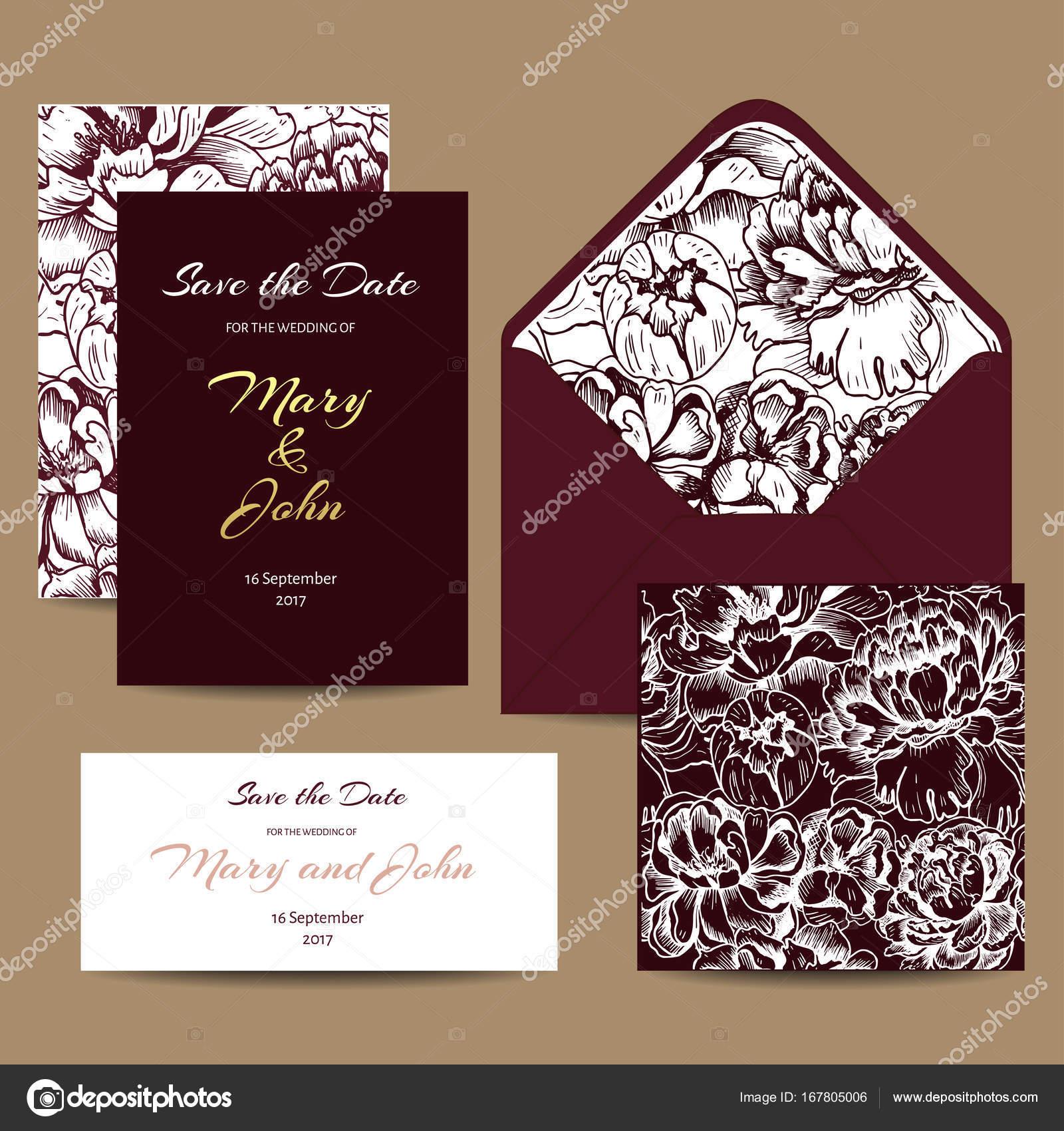 Un Ensemble De Cartes Dinvitation Pour Le Mariage Postales Avec Ornement Floral Enveloppe Voeux Carte Visite Fond Transparent Dans
