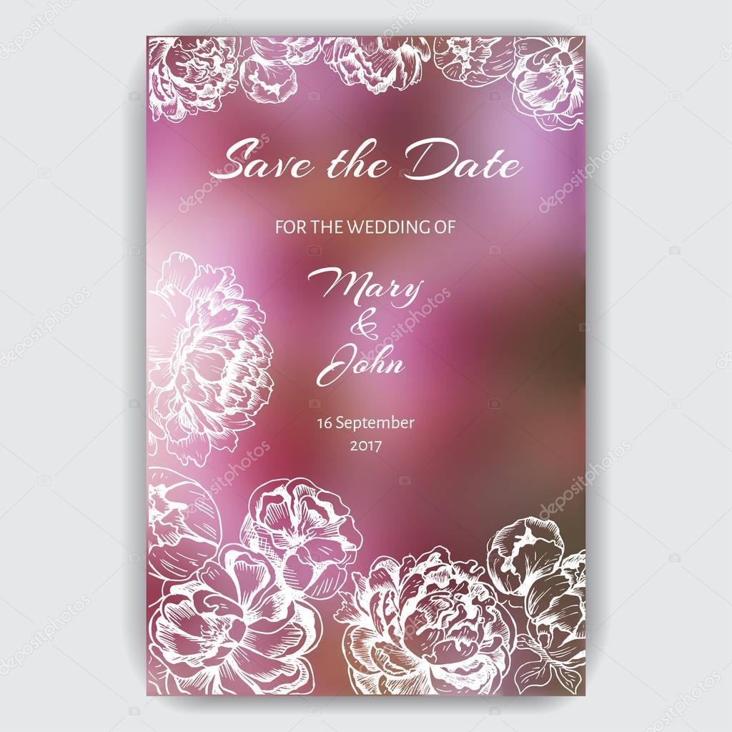 Весілля запрошення шаблон з квітами