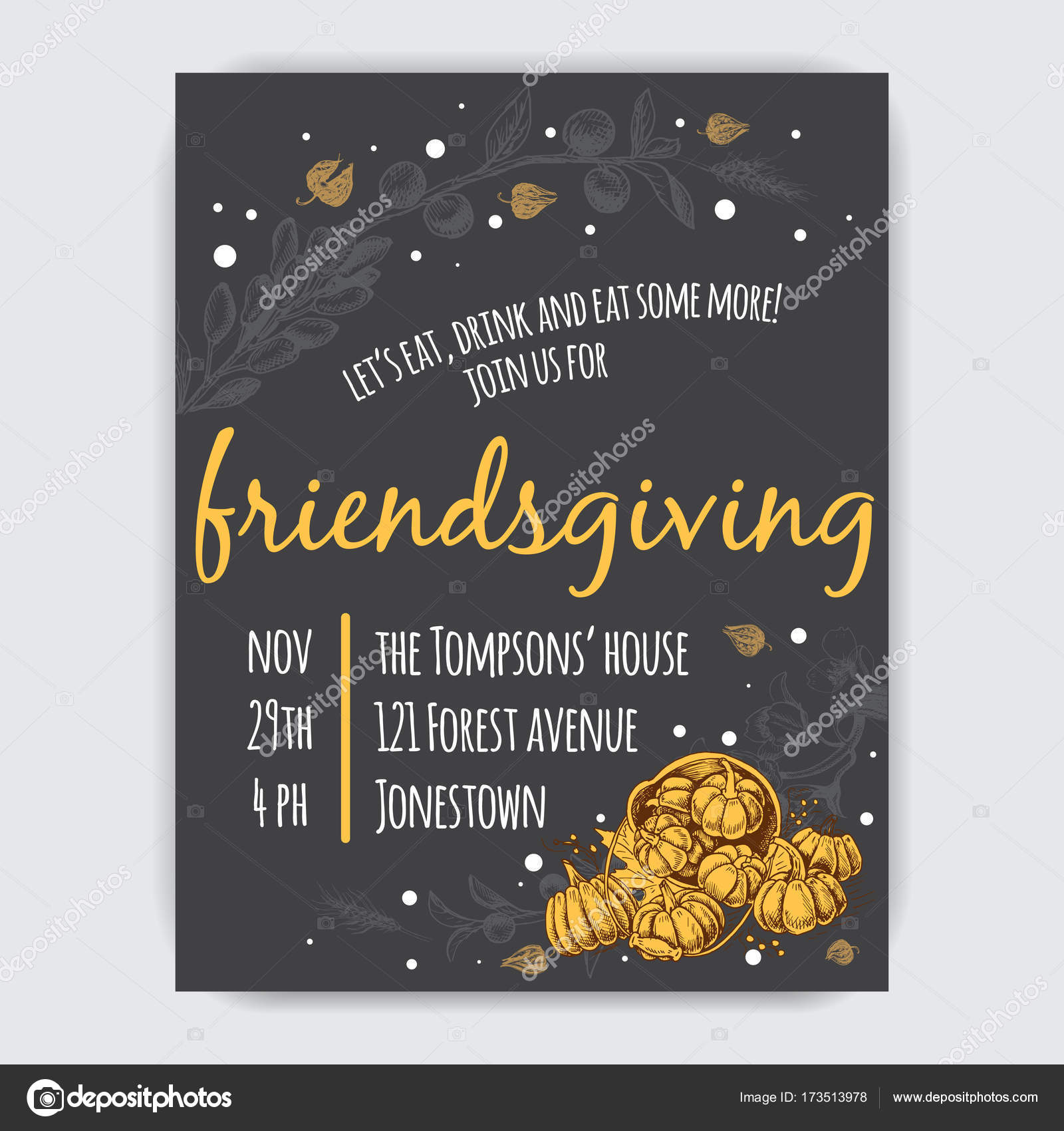 Invitation Card For Thanksgiving Dinner In The Circle Of