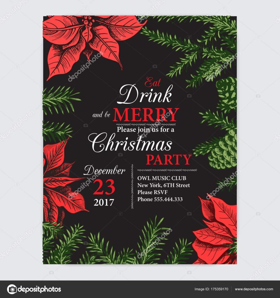 Invitation card for a Christmas party. — Stock Vector © art-romashka ...