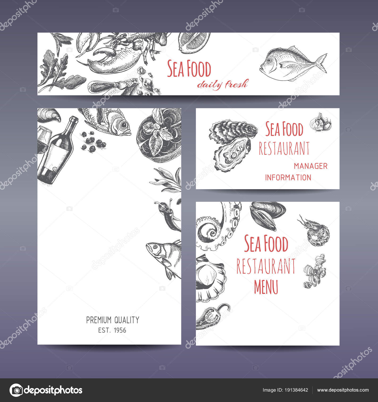 seafood restaurant menu pages fishes wine stock vector art