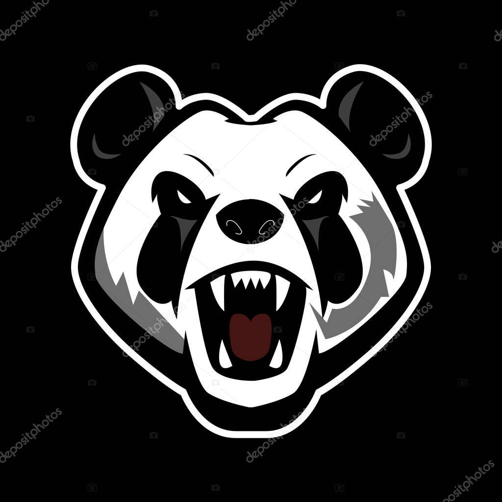 Panda mascot logo design for sports team. Panda vector sticker illustration. Icon element for template.