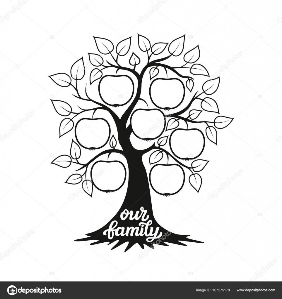 Ilustración del árbol de familia con un título — Archivo Imágenes ...