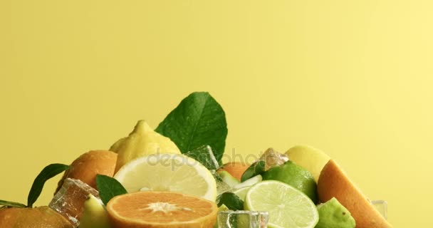 composition of limen, orange and lime with an ice cubes turning on