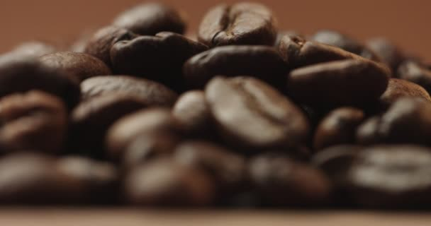 Roasted coffee beans close up video