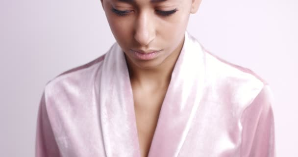 Attractive Moroccan Young Woman In Pink Silk Dressing Gown