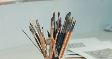 closeup of art tools in studio