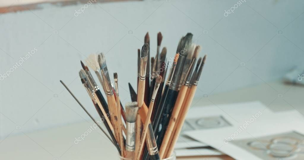 closeup of art tools in studio