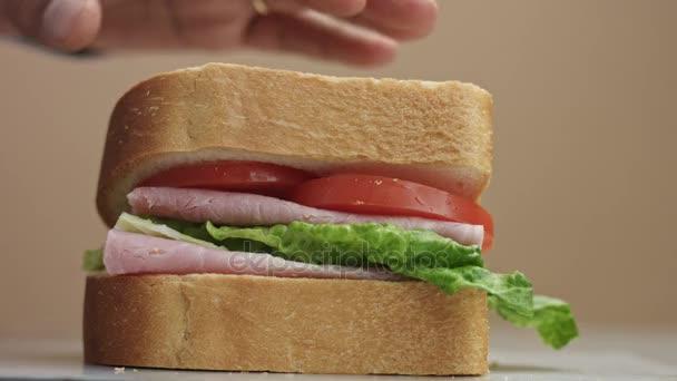 closeup of mans hand press the sandwich