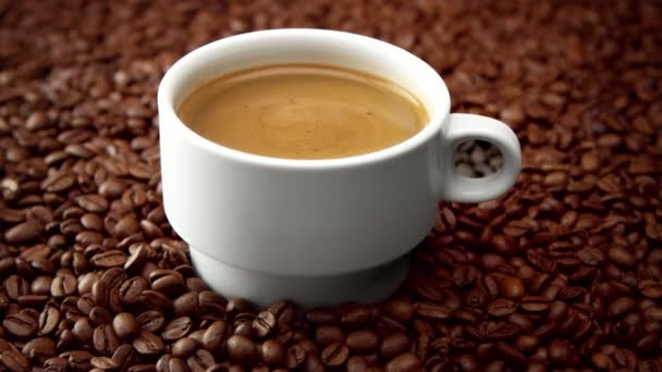 side view of white cup of black coffe on coffee beans