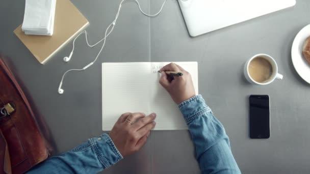 Pracovní stůl top zobrazit nad s notebook notebook a mans hand