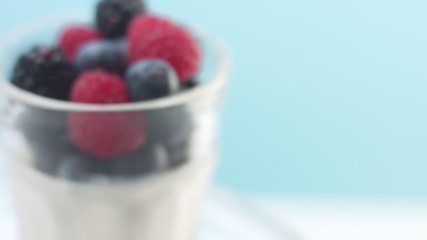Průhledné brýle plné jogurtu, Panna Cotta, bílá vanilková pěna zdobená bobulemi