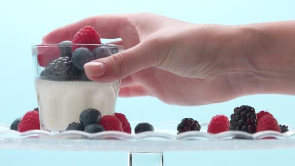 Transparente Gläser voller Joghurt, Panna Cotta, weißer Vanillemousse mit Beerendekor