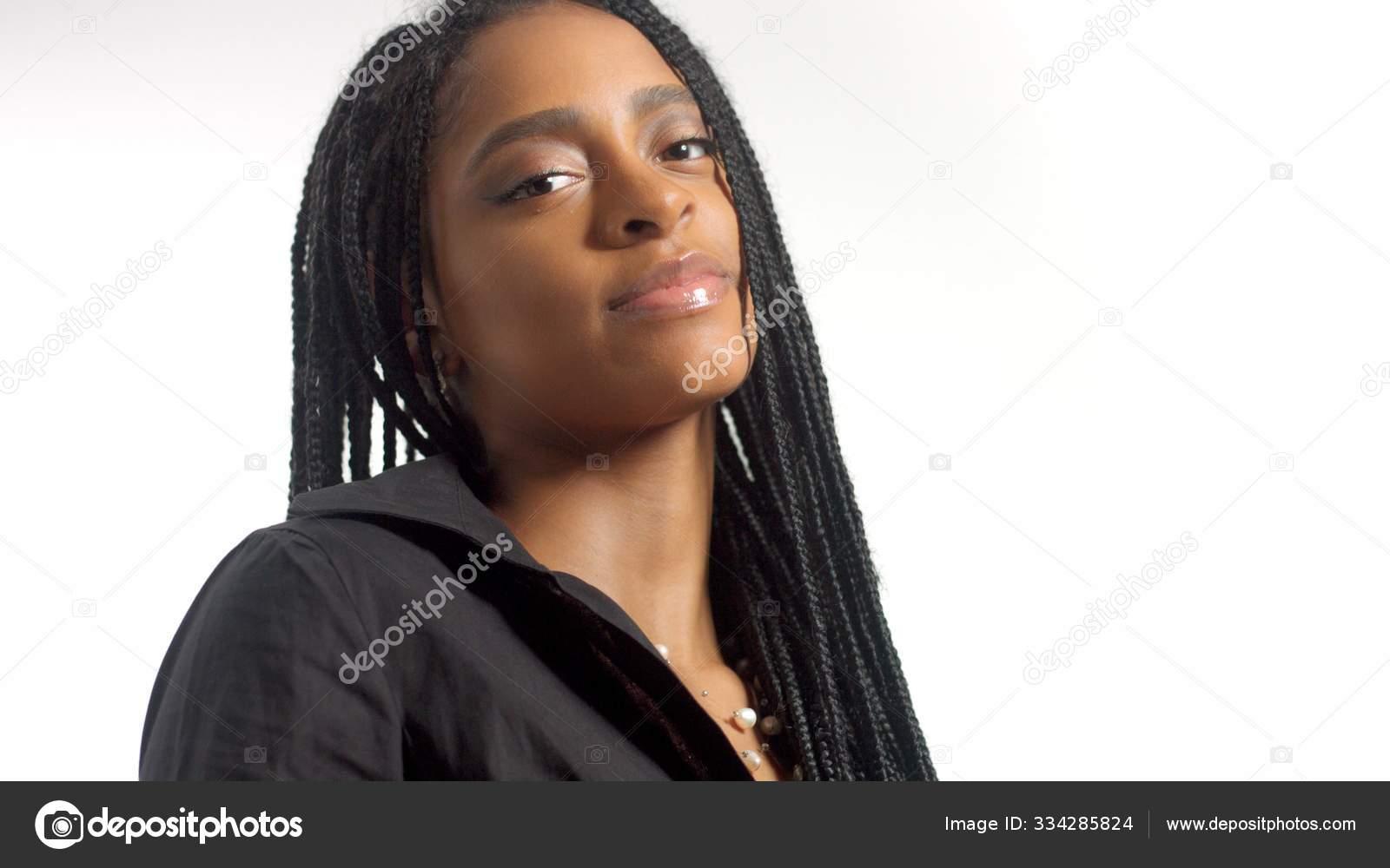 Mixed Race Woman With Hair Braids In Studio On White Portrait Stock Photo Image By C Kazzakova 334285824