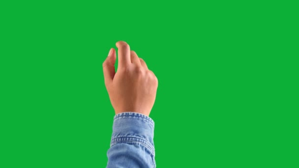 mixed race deep skin tone male hand makes a one tap gesture with forefinger on chromakey green