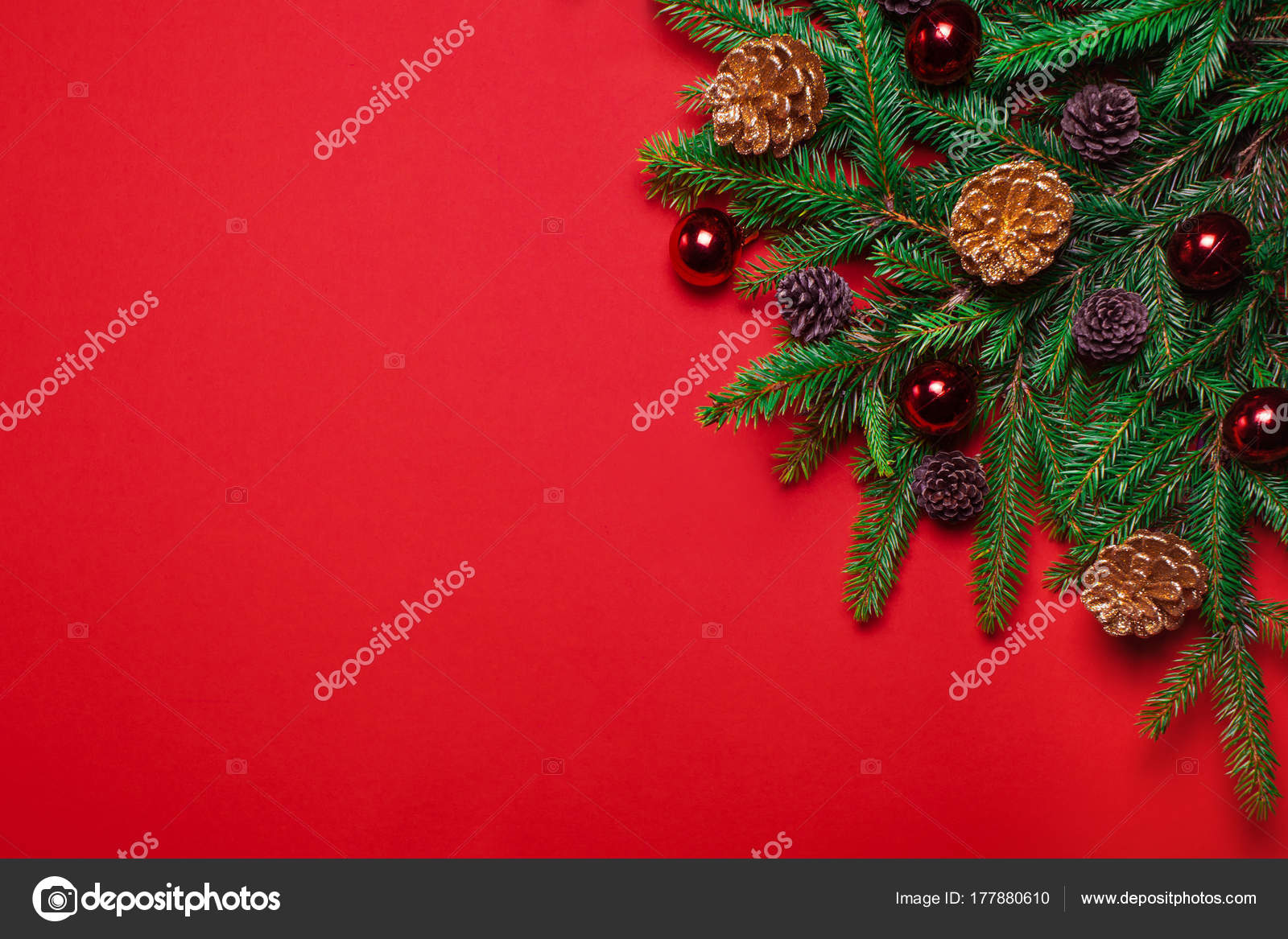 red christmas new year background fir branches fir cones christmas