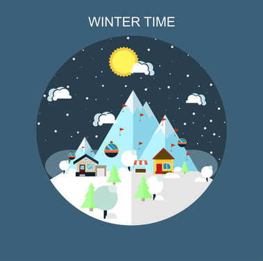 Winter time landscape in flat design with funiculars, mountains, house and snow. Snow time concept background.