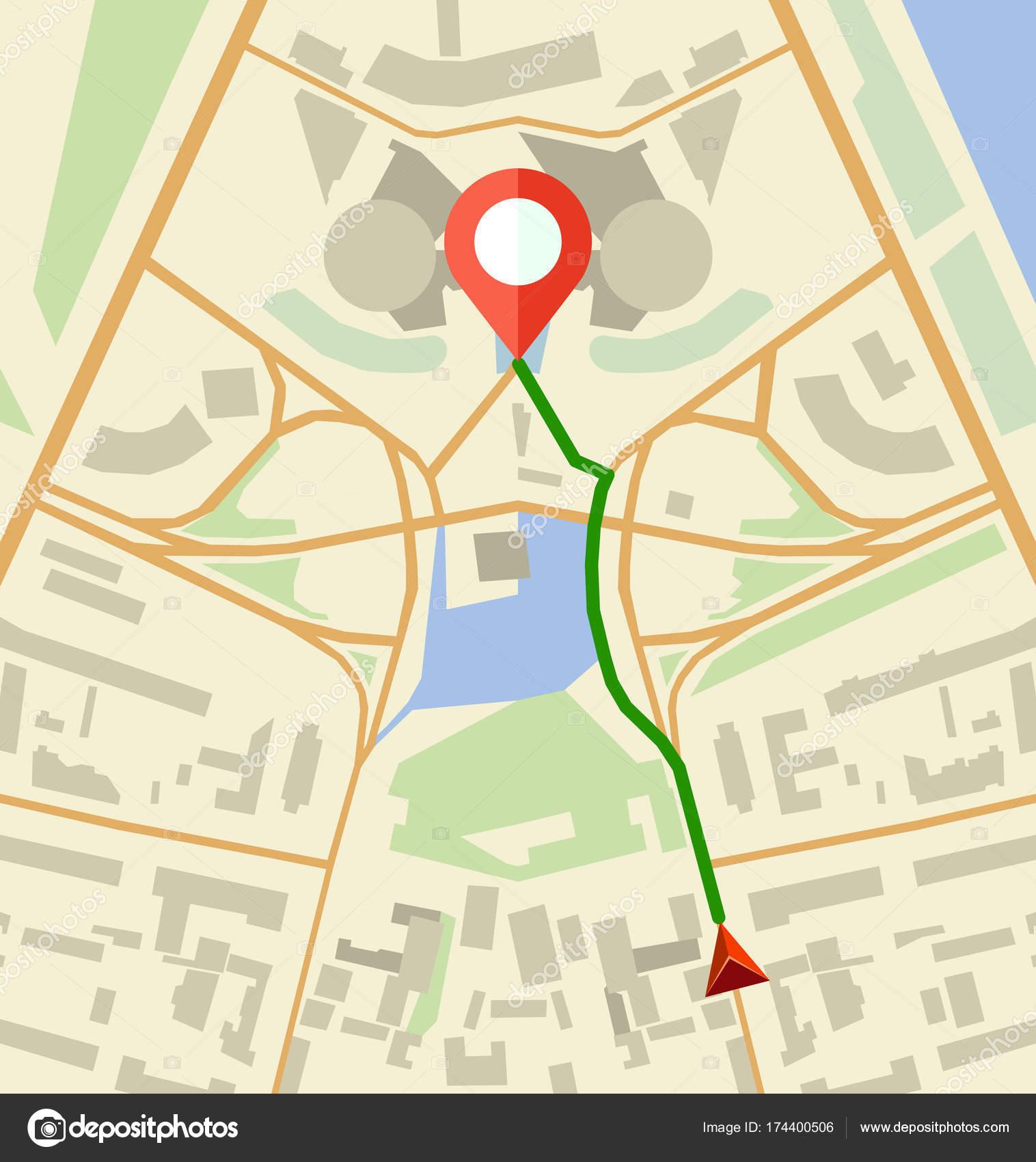 Navigation Map Flat Vector Illustration — Stock Vector ... on